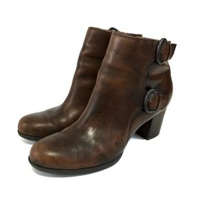 BORN ONDINE Cognac burnished Ankle Booties